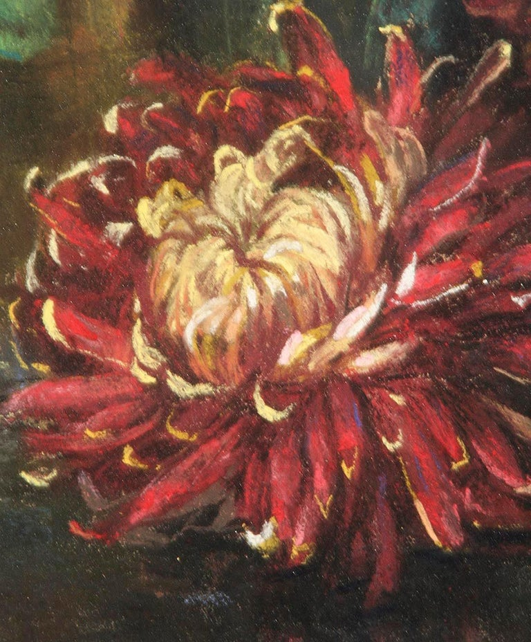 Flower Still Life, Pastel on Paper by Berthe Art Early 20th Century For Sale 7