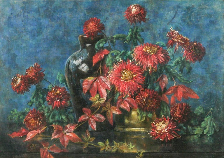 Romantic Flower Still Life, Pastel on Paper by Berthe Art Early 20th Century For Sale