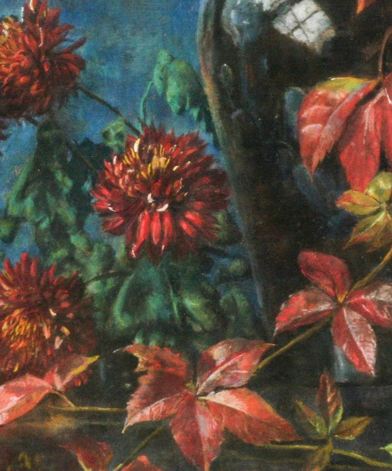 Hand-Painted Flower Still Life, Pastel on Paper by Berthe Art Early 20th Century For Sale