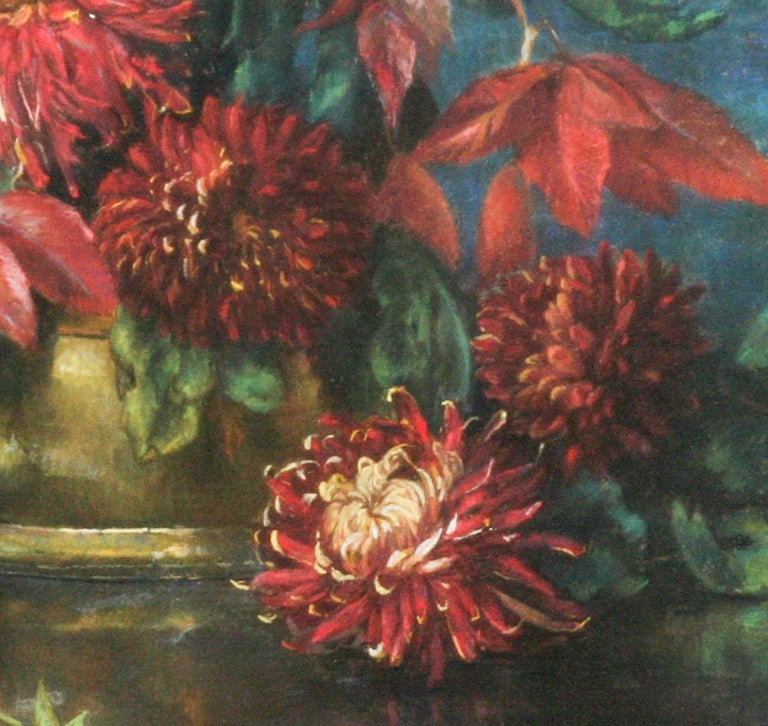 Paint Flower Still Life, Pastel on Paper by Berthe Art Early 20th Century For Sale