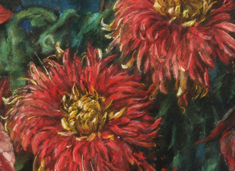 Flower Still Life, Pastel on Paper by Berthe Art Early 20th Century For Sale 1