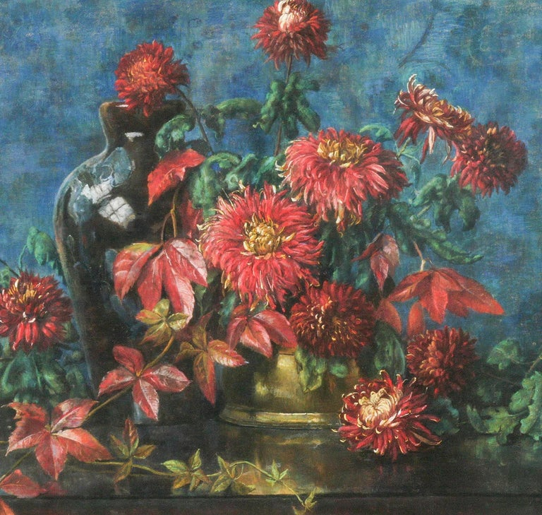 Flower Still Life, Pastel on Paper by Berthe Art Early 20th Century For Sale 2