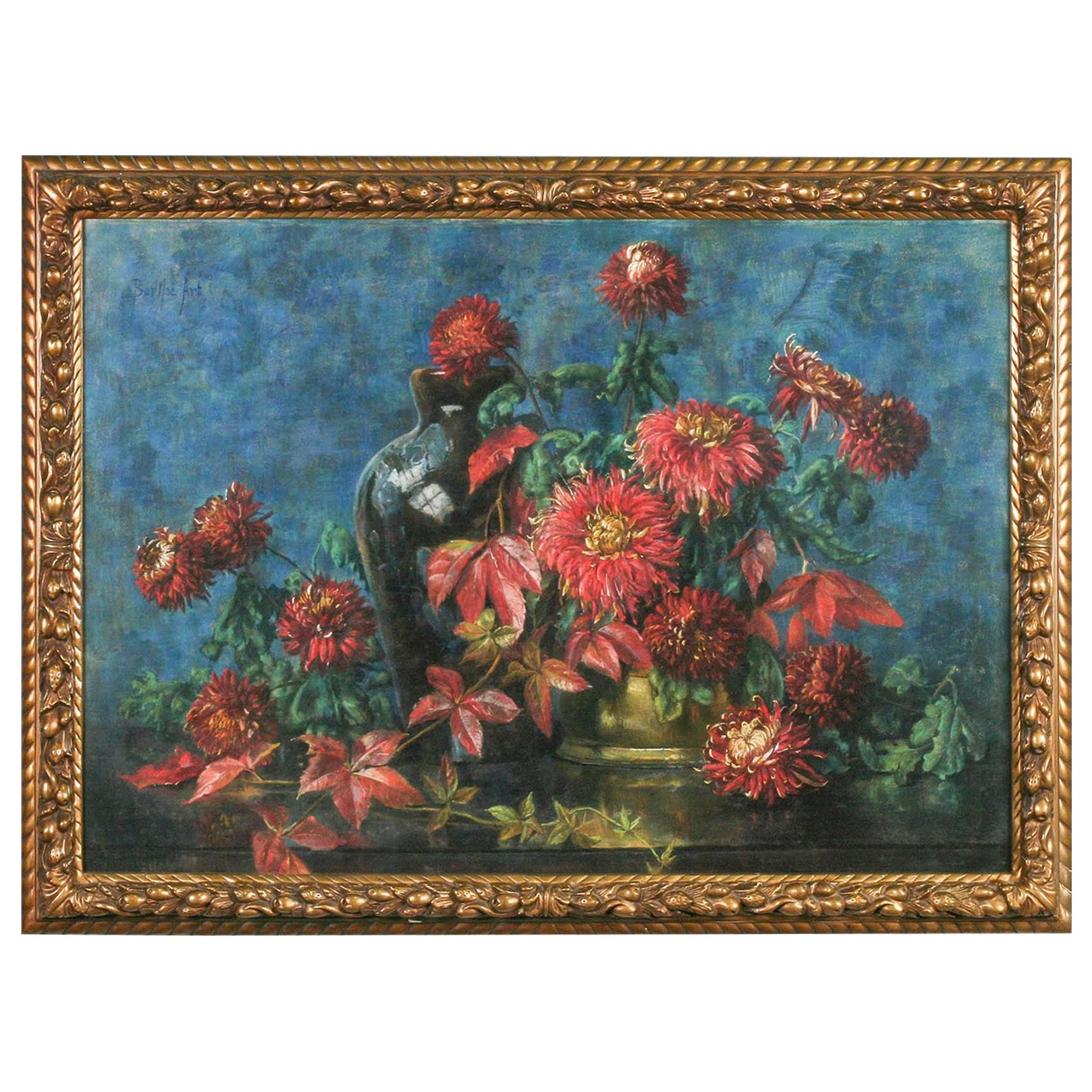 Flower Still Life, Pastel on Paper by Berthe Art Early 20th Century
