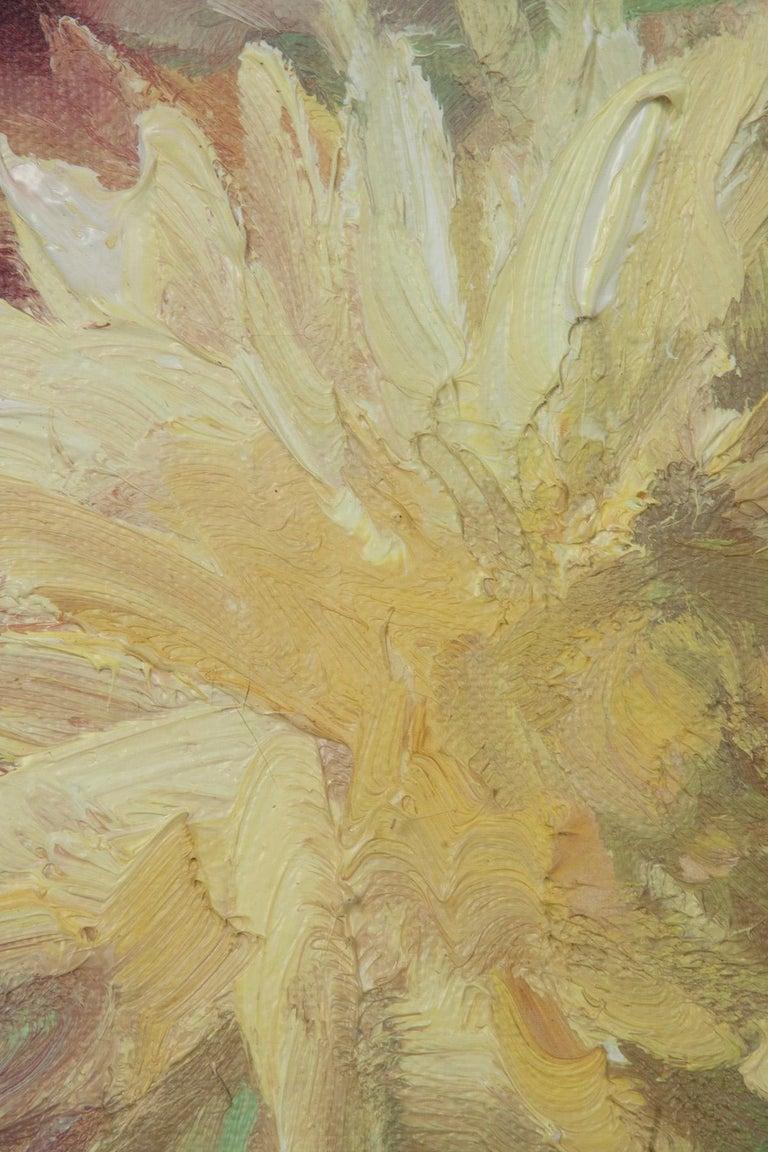 Flower Still Life with Dahlias, Oil on Canvas, Gaston Geleyn, Dated 1934 For Sale 4