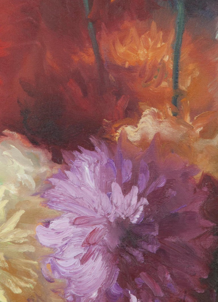 Flower Still Life with Dahlias, Oil on Canvas, Gaston Geleyn, Dated 1934 For Sale 6