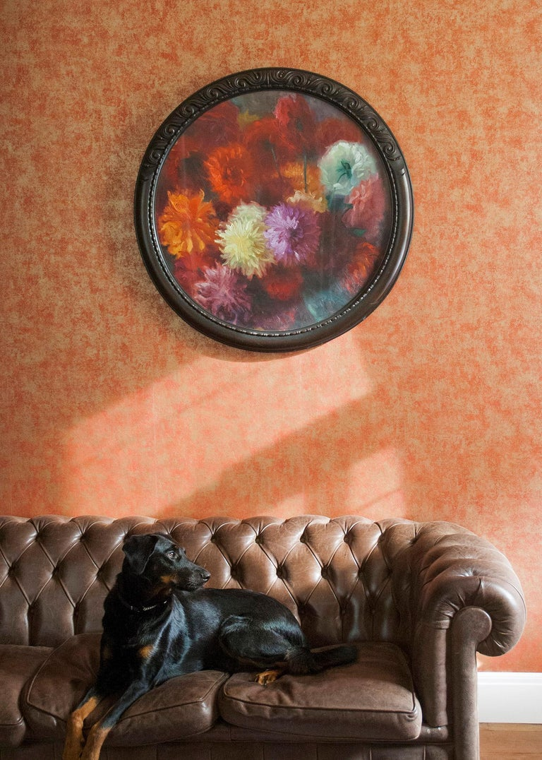 Art Deco Flower Still Life with Dahlias, Oil on Canvas, Gaston Geleyn, Dated 1934 For Sale