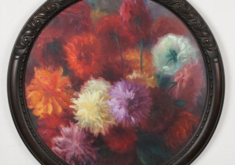 Belgian Flower Still Life with Dahlias, Oil on Canvas, Gaston Geleyn, Dated 1934 For Sale