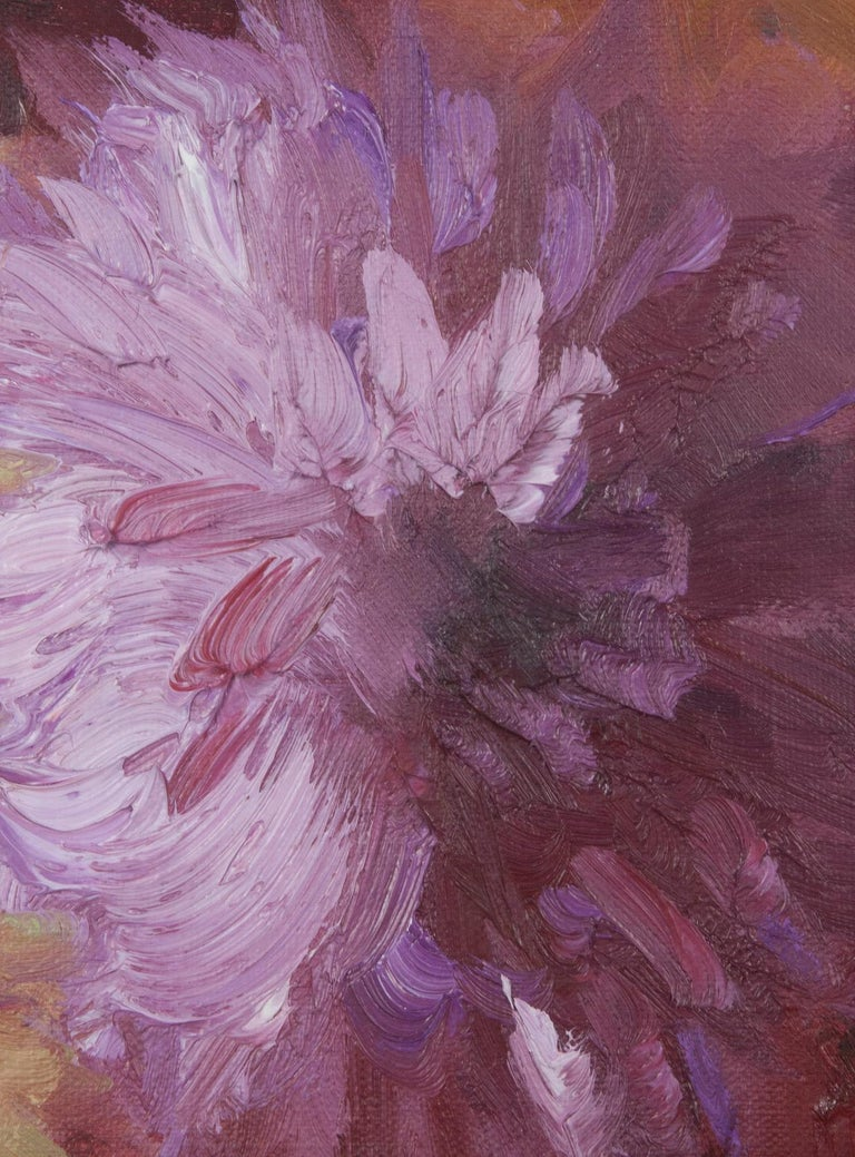 Hand-Painted Flower Still Life with Dahlias, Oil on Canvas, Gaston Geleyn, Dated 1934 For Sale