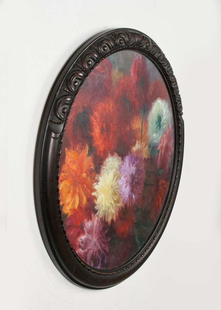 Flower Still Life with Dahlias, Oil on Canvas, Gaston Geleyn, Dated 1934 In Good Condition For Sale In Casteren, Noord-Brabant