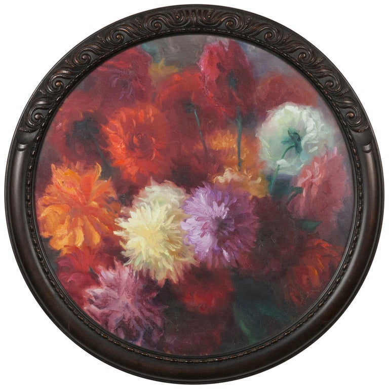 Flower Still Life with Dahlias, Oil on Canvas, Gaston Geleyn, Dated 1934 For Sale