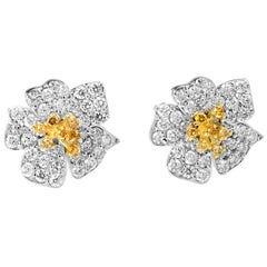 Flower Stud Earrings with Yellow and White Diamonds White Gold Stambolian