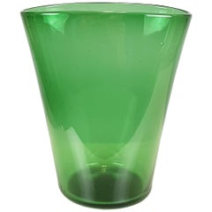 Midcentury Bottle green glass vase by Taddei, Empoli
