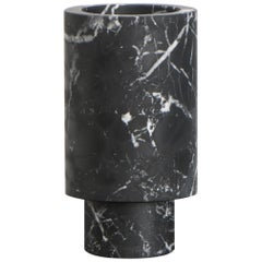 Flower Vase in Black Marble, by Karen Chekerdjian, Made in Italy in Stock
