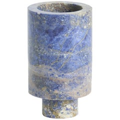 Flower Vase in Blu Marble, by Karen Chekerdjian, Made in Italy