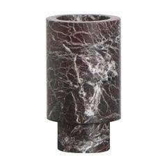 Flower Vase in Red Marble, by Karen Chekerdjian, Made in Italy