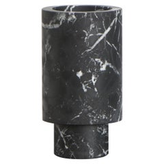 Flower Vase in Black Marble, by Karen Chekerdjian, Made in Italy