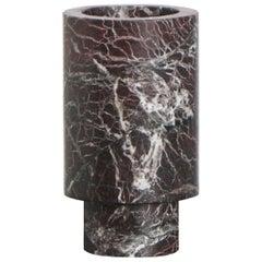 Flower Vase in Red Marble, by Karen Chekerdjian, Made in Italy in Stock