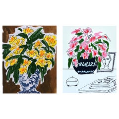Flower Vase, Yellow and Flower Vase, Pink
