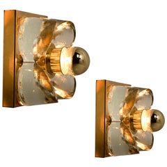 Flower Wall Lights, Brass and Glass by Sische, 1970s, Germany