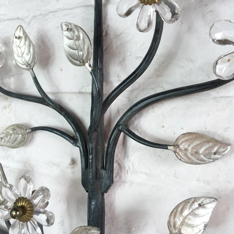 Flower Wall Sconce in the Style of Maison Baguès For Sale 3