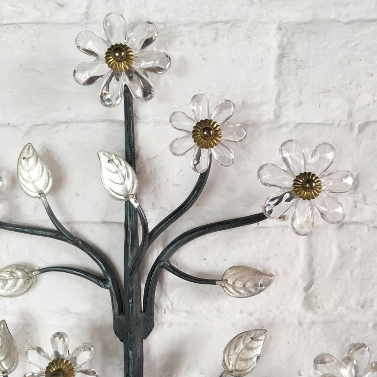 French Flower Wall Sconce in the Style of Maison Baguès For Sale