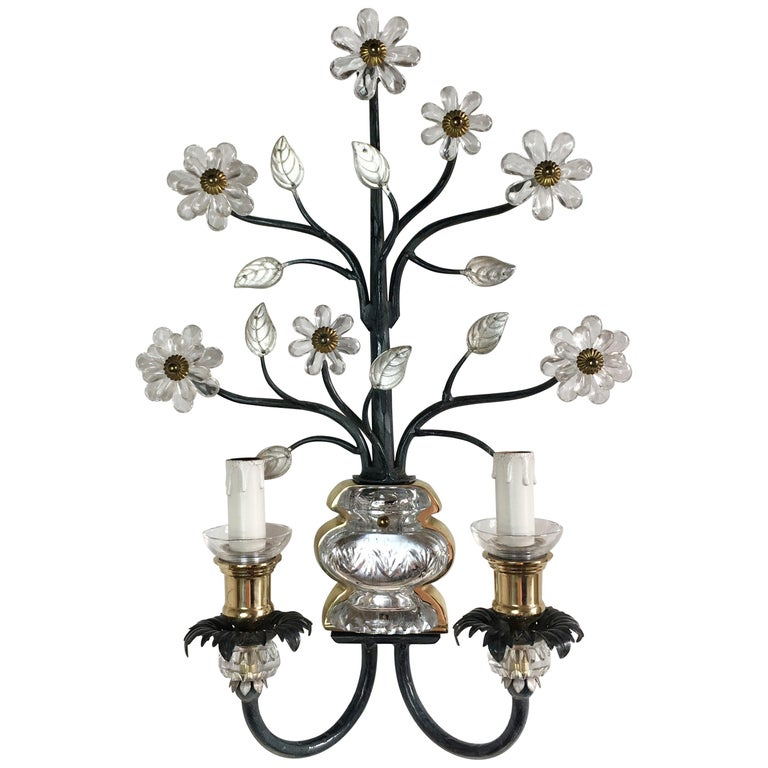 Flower Wall Sconce in the Style of Maison Baguès For Sale