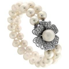Flower White 18 Karat Gold Pearls Diamond Bead Bracelet