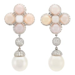 3.45 Carat Diamonds with Pearls Drop Earrings