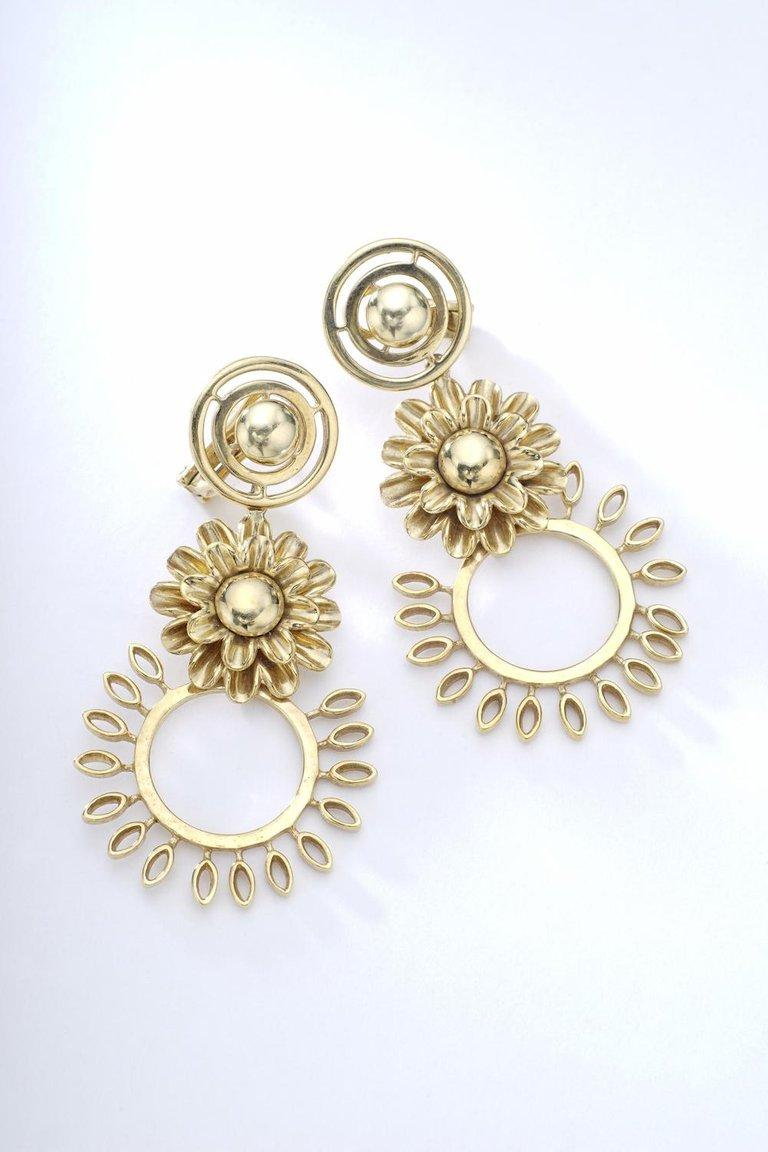 Flower Yellow Gold Pendant Earrings In Excellent Condition For Sale In Geneva, CH