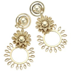 Flower Yellow Gold Pendant Earrings
