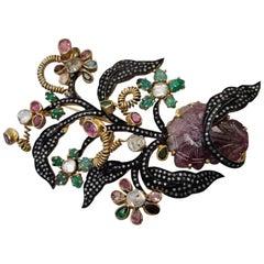 Flowerbrooch with Gemstones