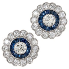 Flowerlike Art Deco Style Diamond and Sapphire Earrings