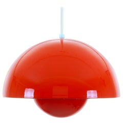 FLOWERPOT red enameled lamp by Verner Panton for Louis Poulsen in 1968