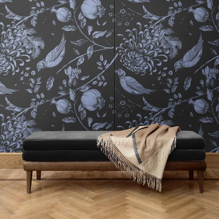 This superb wall covering will adorn a bedroom, a powder room, or entryway with a unique combination of luxury and dynamism. It is part of the Flowers and Birds collection and boasts a black background on which delicate dahlias, fruits, and birds