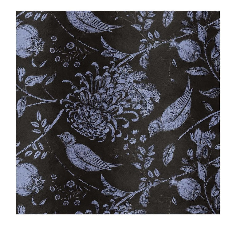 Italian Flowers and Birds Black Panel For Sale