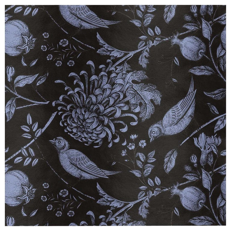Flowers and Birds Black Panel For Sale