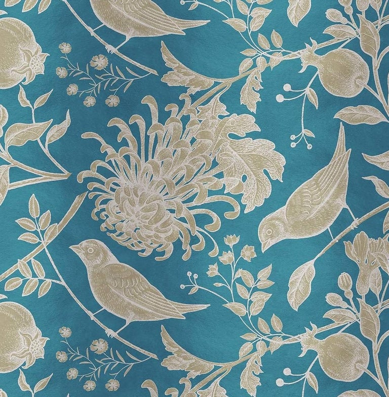 Modern Flowers and Birds Gold Panel For Sale
