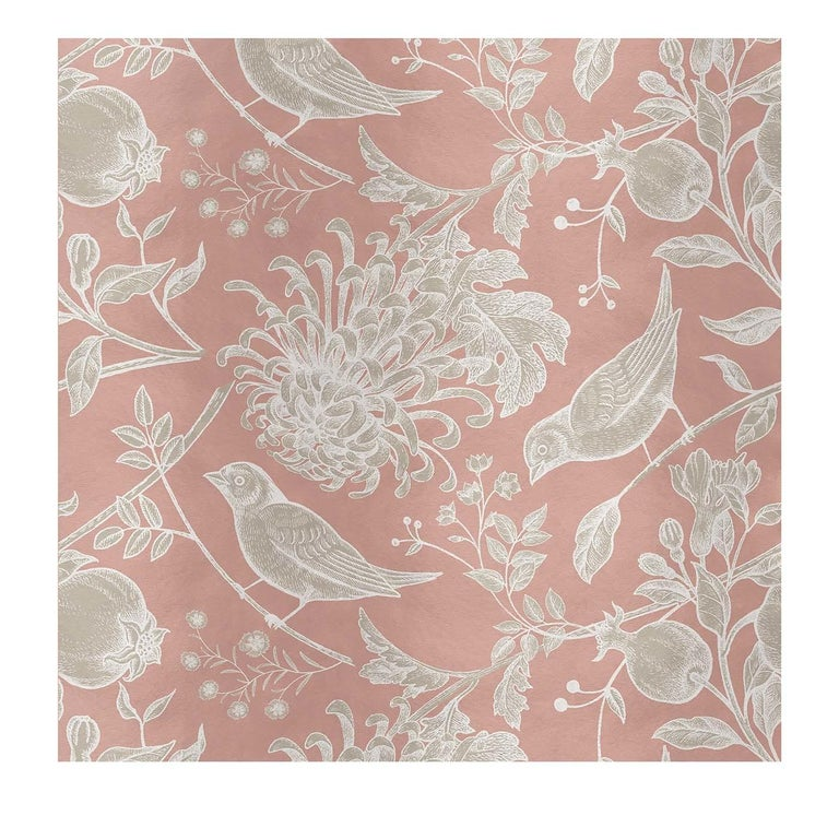 Modern Flowers And Birds Pink Panel #1 For Sale