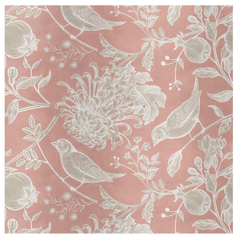 Flowers And Birds Pink Panel #1 For Sale
