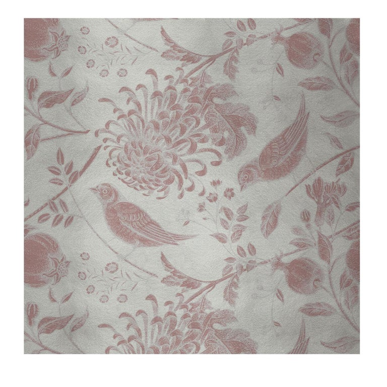 Modern Flowers and Birds Pink Panel #2 For Sale