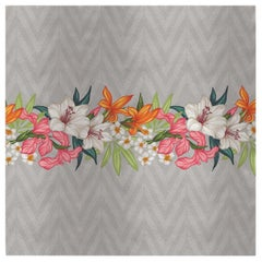 Flowers and Chevron Pattern Panel