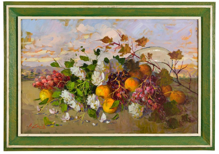 Cheerful and sunny painting with fruits and flowers from Italy - Neapolitan painter -