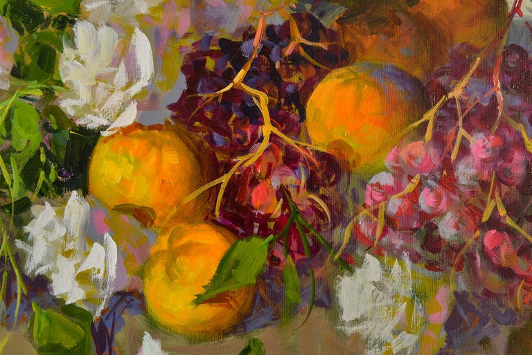 Late 20th Century Flowers and Fruits Composition Italian Painting For Sale