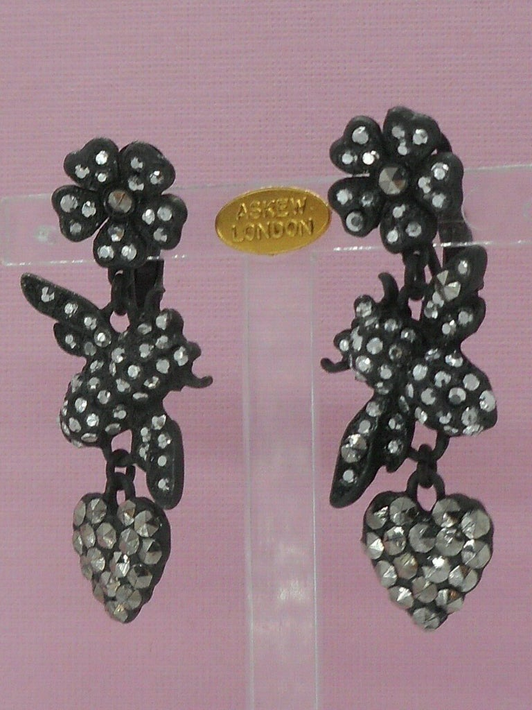 Round Cut  Flowers, Bees and Hearts Drop Earrings Signed Askew London For Sale