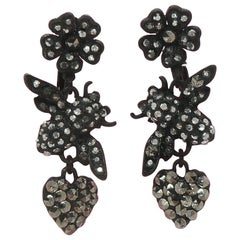 Flowers, Bees and Hearts Drop Earrings Signed Askew London