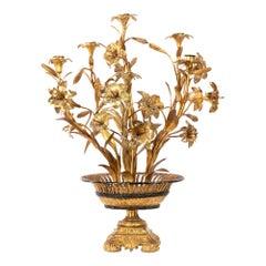 Flowers Candelabra, Gilt Brass and Bronze, circa 1880