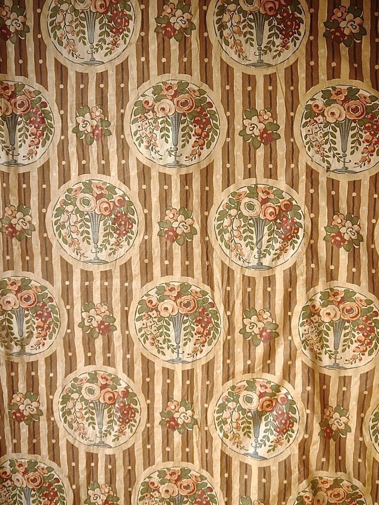 Art Deco Flowers in Vases Cotton Textile, French, 1920s For Sale