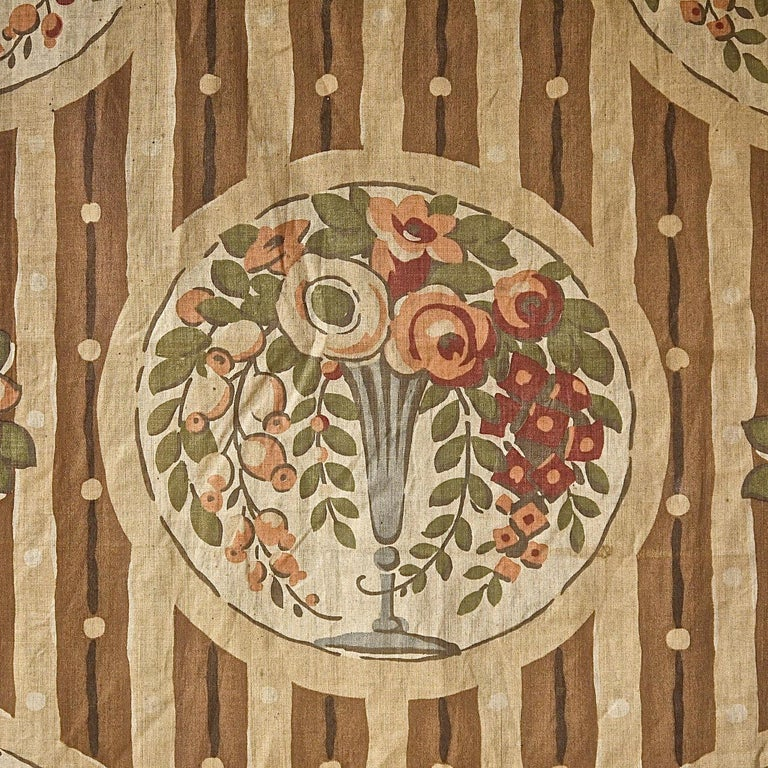 Flowers in Vases Cotton Textile, French, 1920s In Fair Condition For Sale In London, GB
