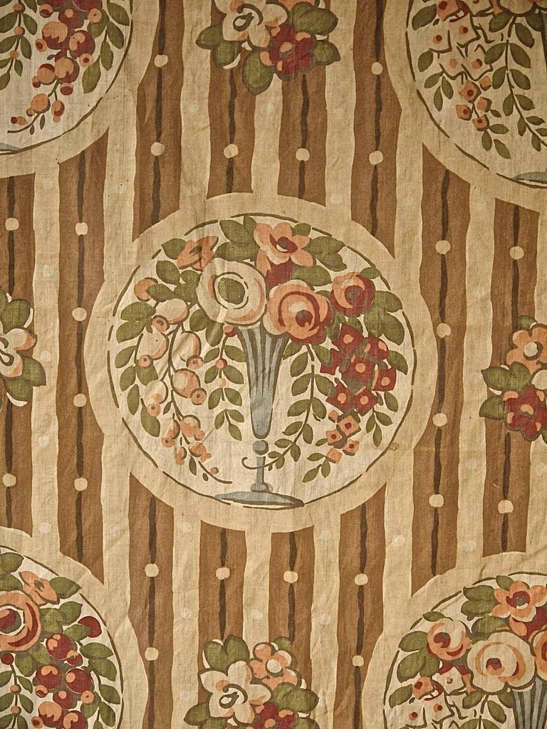 Flowers in Vases Cotton Textile, French, 1920s For Sale 1