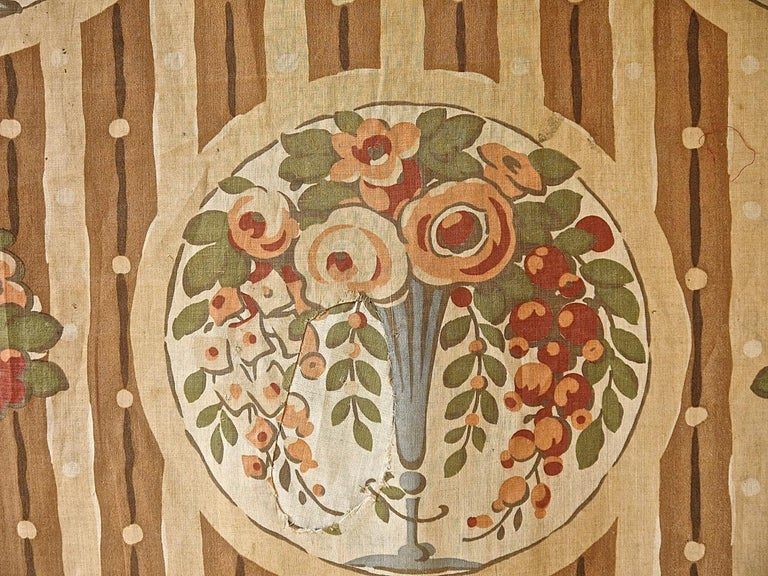 Flowers in Vases Cotton Textile, French, 1920s For Sale 2